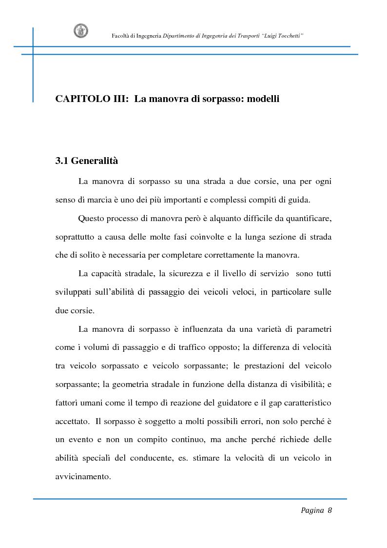 Anteprima della tesi: Sicurezza stradale: analisi della manovra di sorpasso con l'ausilio di sperimentazione su strada e simulazione al calcolatore, Pagina 8