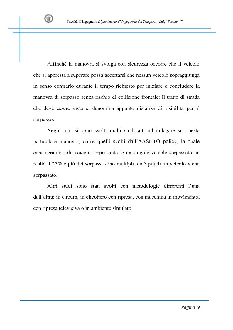 Anteprima della tesi: Sicurezza stradale: analisi della manovra di sorpasso con l'ausilio di sperimentazione su strada e simulazione al calcolatore, Pagina 9