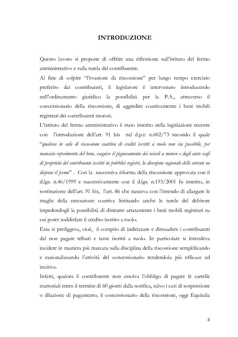 Anteprima della tesi: Il fermo amministrativo nella giurisdizione tributaria, Pagina 1