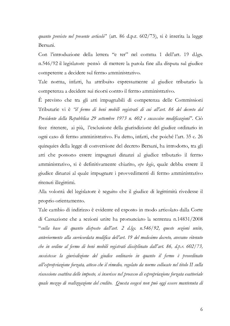 Anteprima della tesi: Il fermo amministrativo nella giurisdizione tributaria, Pagina 3