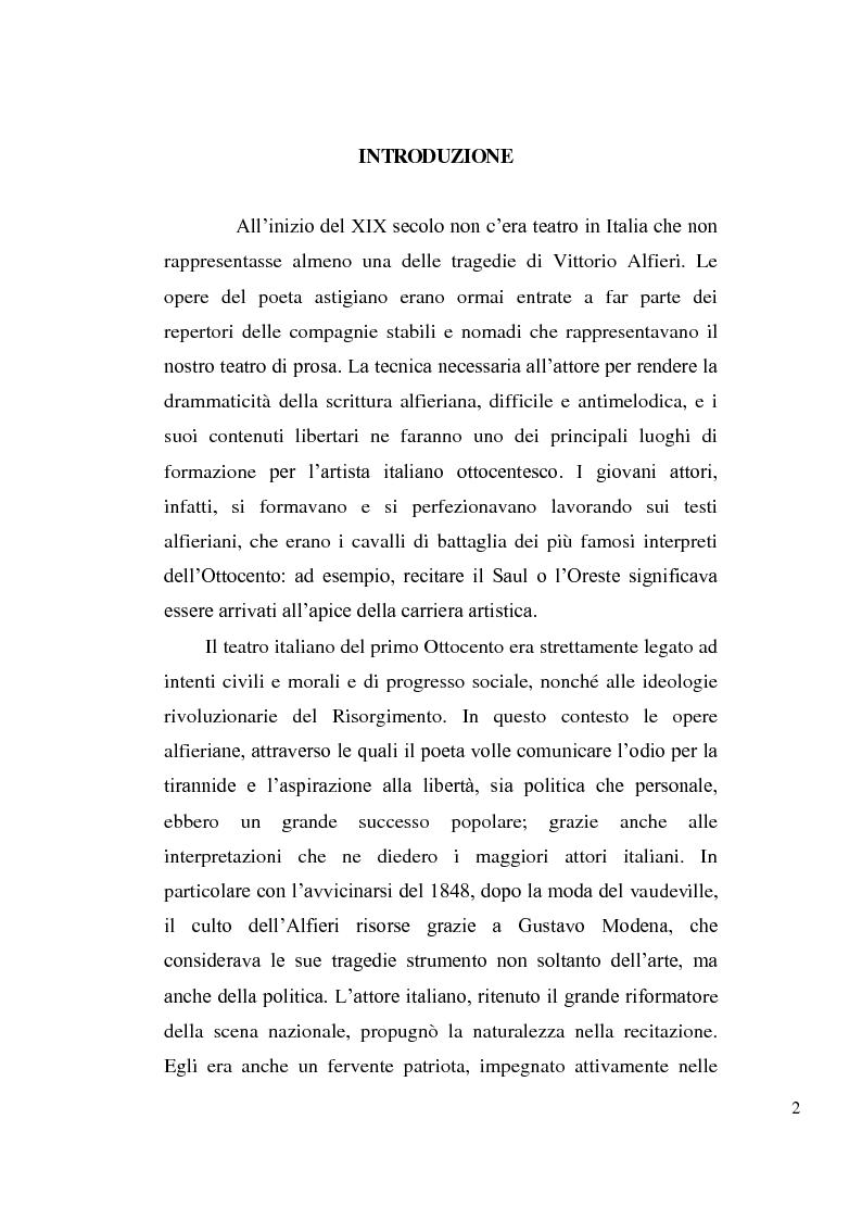Anteprima della tesi: La tragedia alfieriana di Modena, Rossi e Salvini, Pagina 1