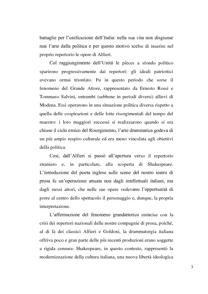 Anteprima della tesi: La tragedia alfieriana di Modena, Rossi e Salvini, Pagina 2