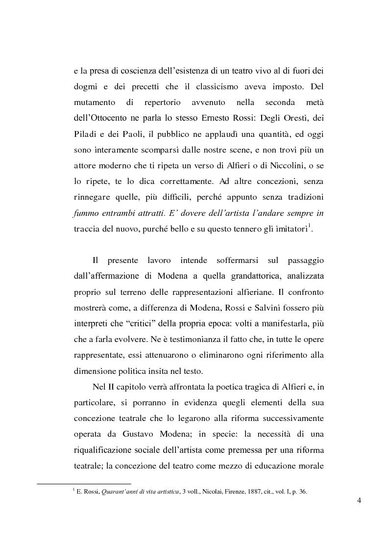 Anteprima della tesi: La tragedia alfieriana di Modena, Rossi e Salvini, Pagina 3
