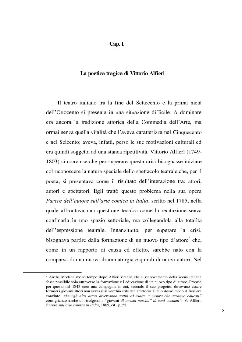 Anteprima della tesi: La tragedia alfieriana di Modena, Rossi e Salvini, Pagina 7