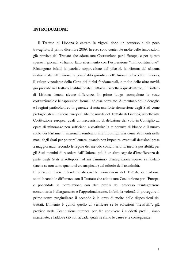 Anteprima della tesi: Le principali innovazioni del Trattato di Lisbona tra allargamento e approfondimento, Pagina 1