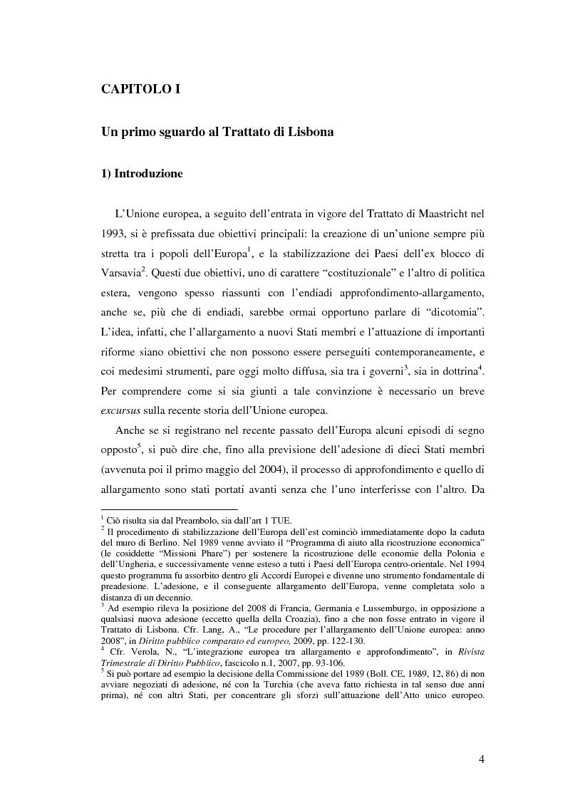 Anteprima della tesi: Le principali innovazioni del Trattato di Lisbona tra allargamento e approfondimento, Pagina 2