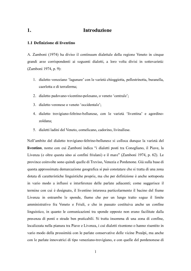 Anteprima della tesi: Varietà dialettali tra Piave e Livenza. Il liventino: profilo linguistico e confini., Pagina 1