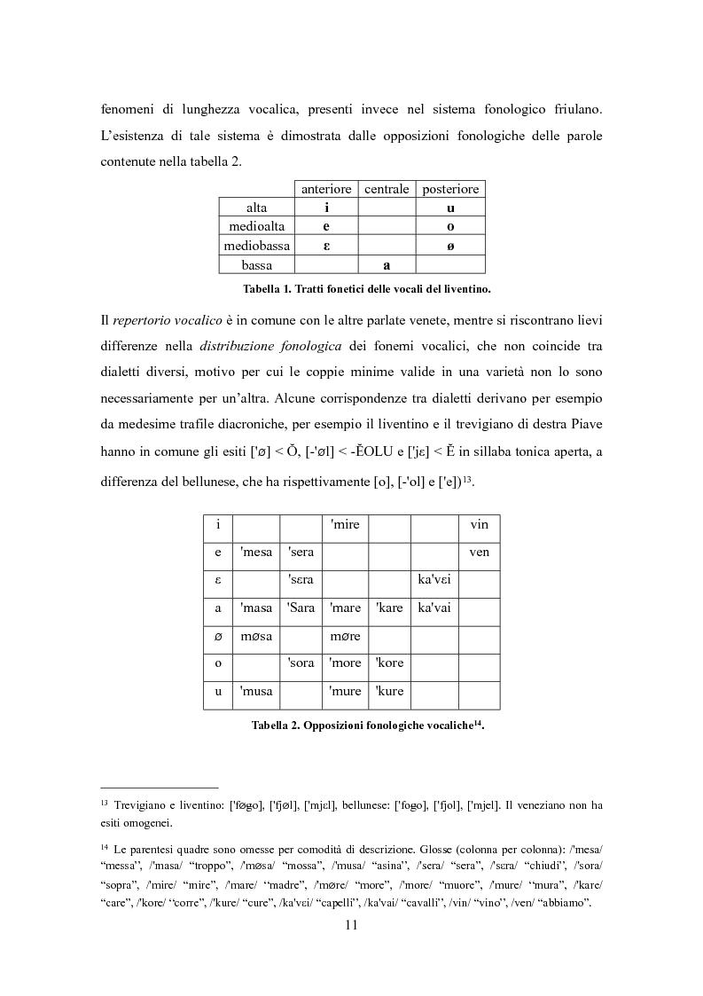 Anteprima della tesi: Varietà dialettali tra Piave e Livenza. Il liventino: profilo linguistico e confini., Pagina 11