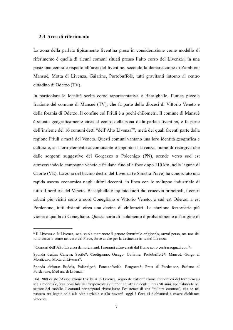 Anteprima della tesi: Varietà dialettali tra Piave e Livenza. Il liventino: profilo linguistico e confini., Pagina 7