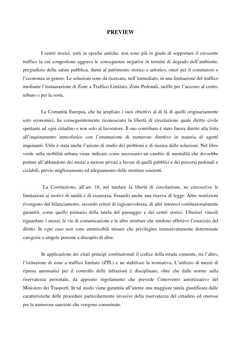 Anteprima della tesi: La disciplina della zona a traffico limitato: interessi coinvolti, controlli, strumenti di tutela, Pagina 1
