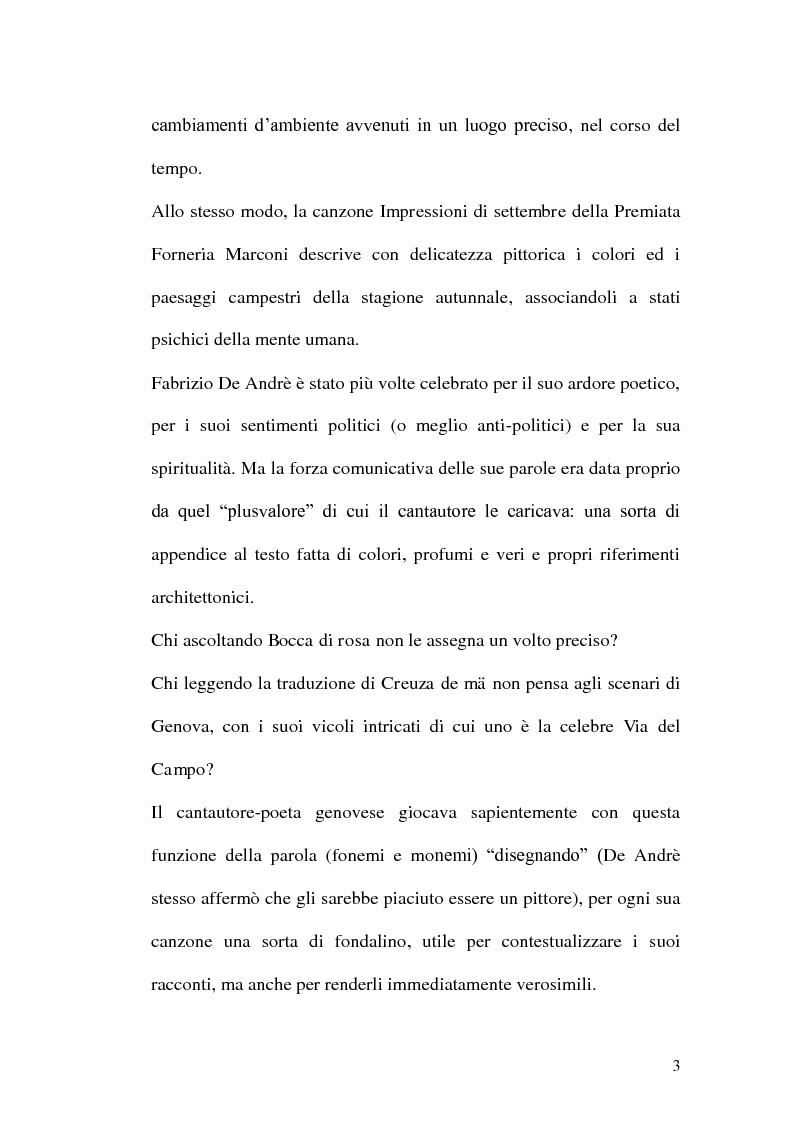 Anteprima della tesi: Da Via del campo a Creuza de ma. La scenografia nelle canzoni di Fabrizio De Andrè., Pagina 2