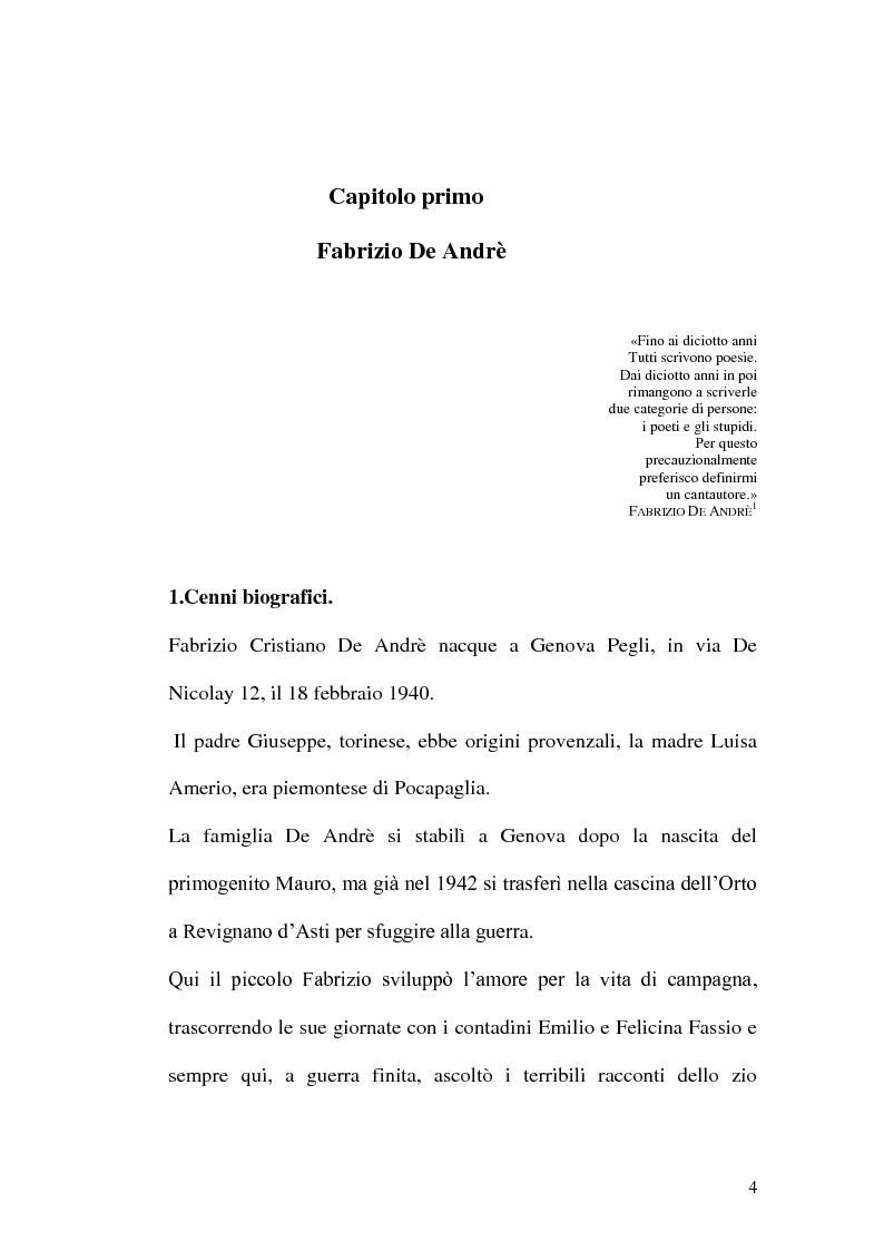 Anteprima della tesi: Da Via del campo a Creuza de ma. La scenografia nelle canzoni di Fabrizio De Andrè., Pagina 3