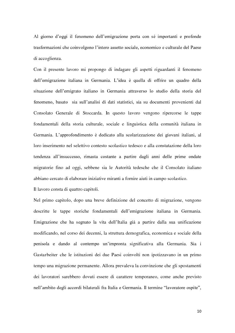Anteprima della tesi: Integrazione e successo scolastico dei figli degli immigrati italiani in Germania. Uno studio basato sull'attività del Consolato Italiano di Stoccarda., Pagina 2
