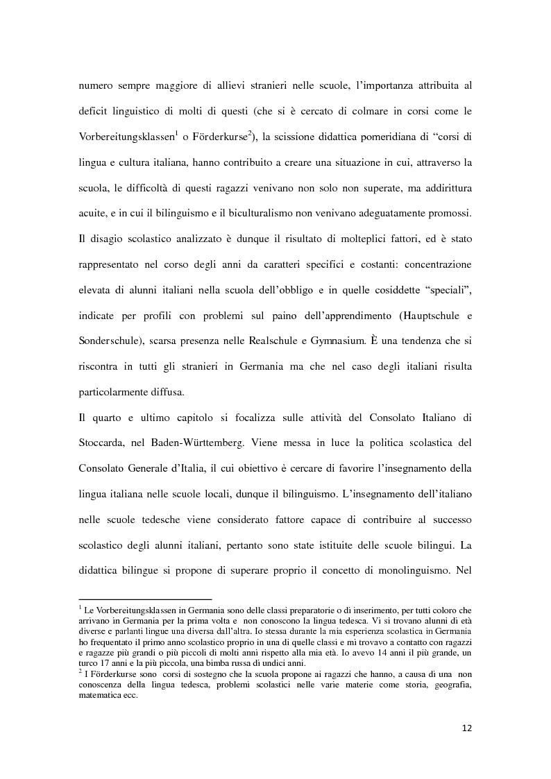 Anteprima della tesi: Integrazione e successo scolastico dei figli degli immigrati italiani in Germania. Uno studio basato sull'attività del Consolato Italiano di Stoccarda., Pagina 4