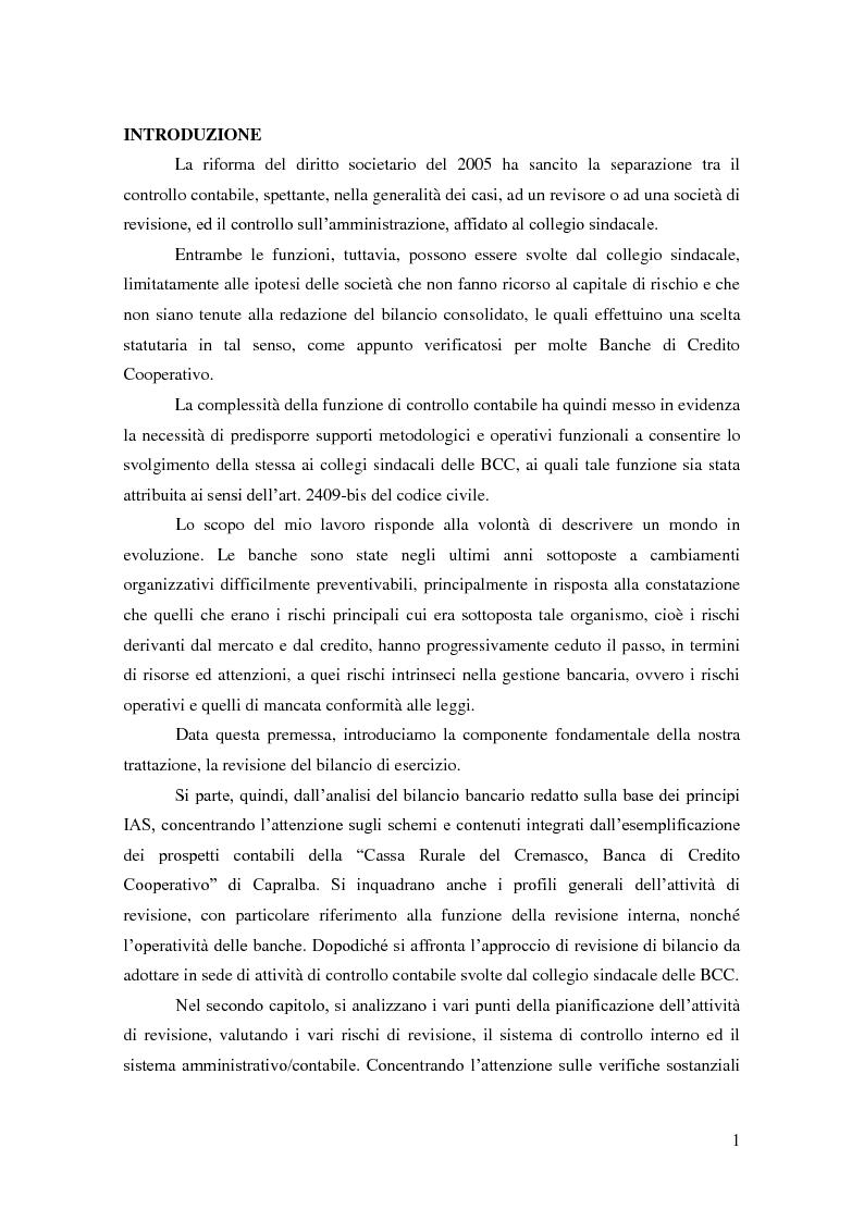 Anteprima della tesi: La revisione del bilancio di esercizio nelle BCC, Pagina 1