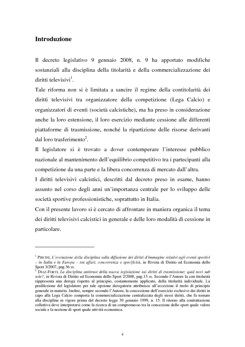 Anteprima della tesi: Diritti televisivi: analisi di un fenomeno che ha cambiato il mondo del calcio, Pagina 1