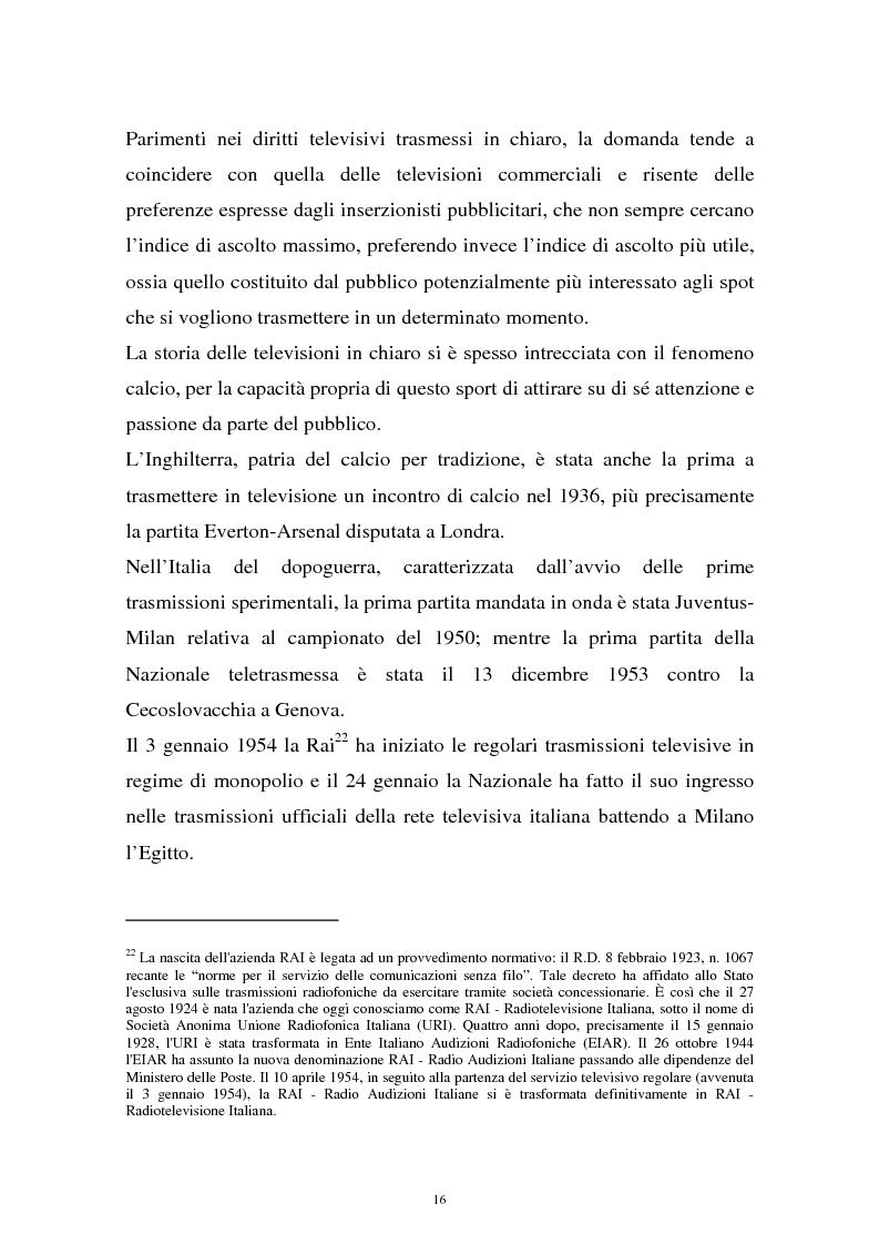 Anteprima della tesi: Diritti televisivi: analisi di un fenomeno che ha cambiato il mondo del calcio, Pagina 13