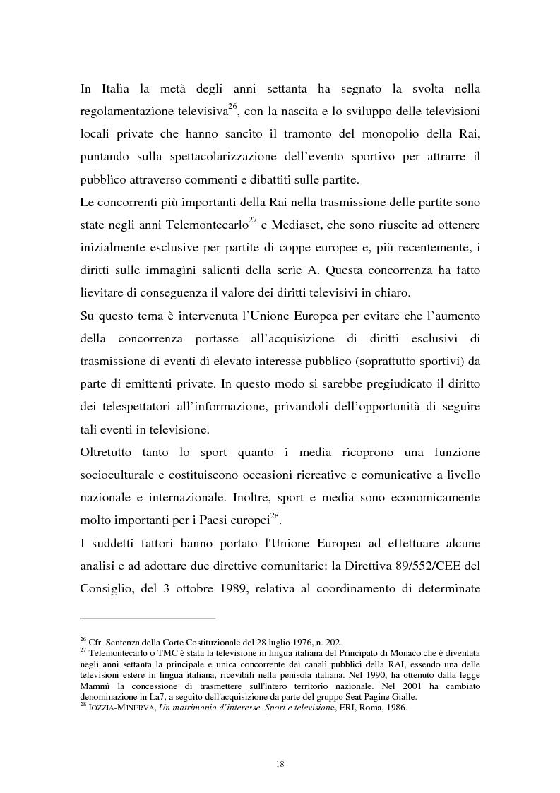 Anteprima della tesi: Diritti televisivi: analisi di un fenomeno che ha cambiato il mondo del calcio, Pagina 15