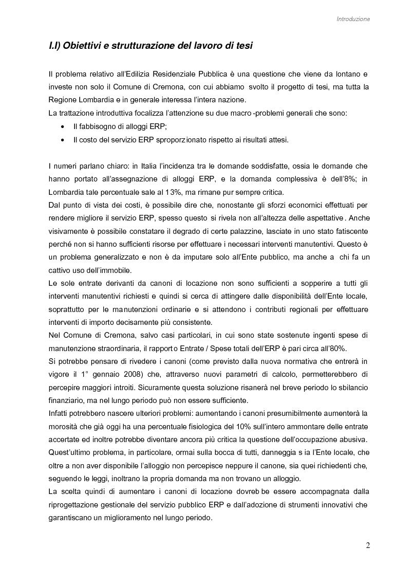 Anteprima della tesi: Opportunità di miglioramento nella gestione del patrimonio di edilizia residenziale pubblica in Lombardia: il caso del Comune di Cremona, Pagina 2