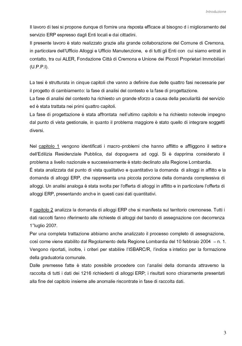 Anteprima della tesi: Opportunità di miglioramento nella gestione del patrimonio di edilizia residenziale pubblica in Lombardia: il caso del Comune di Cremona, Pagina 3