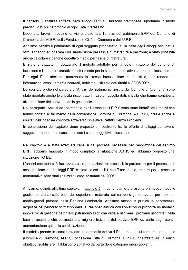 Anteprima della tesi: Opportunità di miglioramento nella gestione del patrimonio di edilizia residenziale pubblica in Lombardia: il caso del Comune di Cremona, Pagina 4
