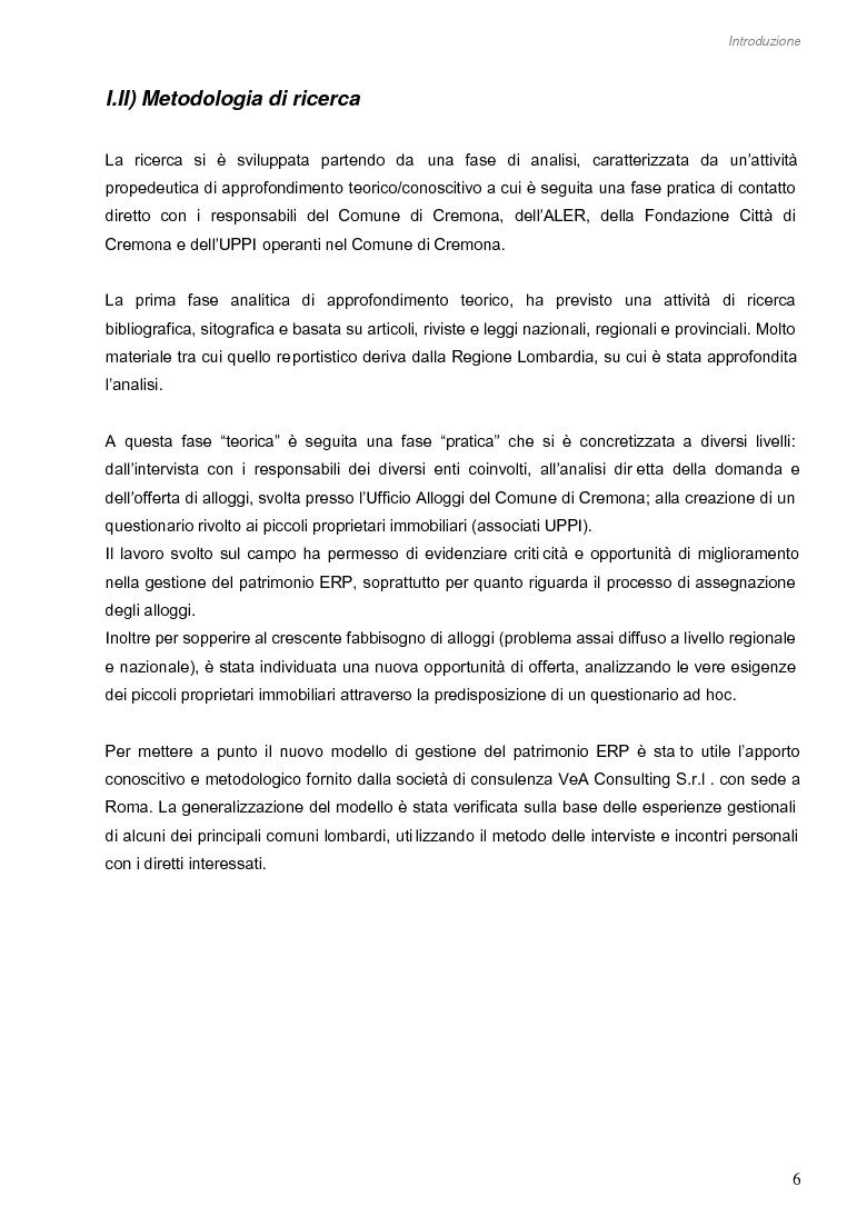 Anteprima della tesi: Opportunità di miglioramento nella gestione del patrimonio di edilizia residenziale pubblica in Lombardia: il caso del Comune di Cremona, Pagina 6