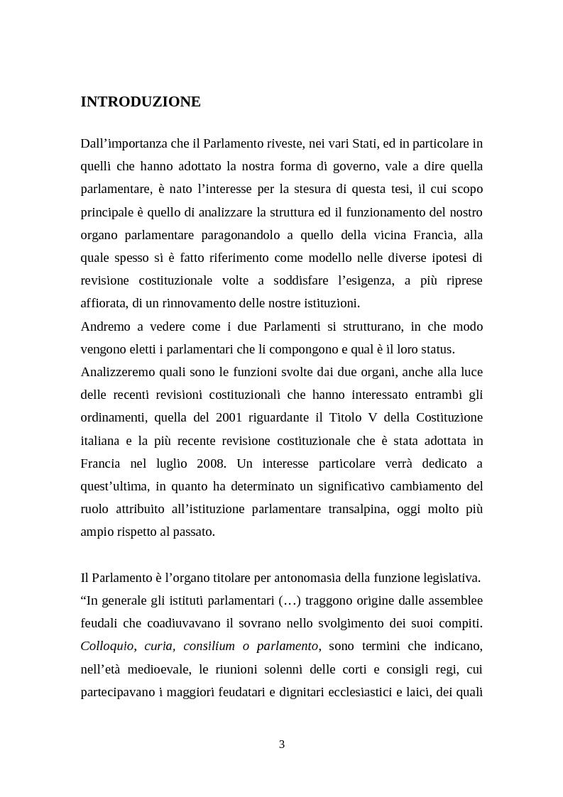 Anteprima della tesi: Il legislativo in Italia e in Francia: esperienze a confronto, Pagina 1