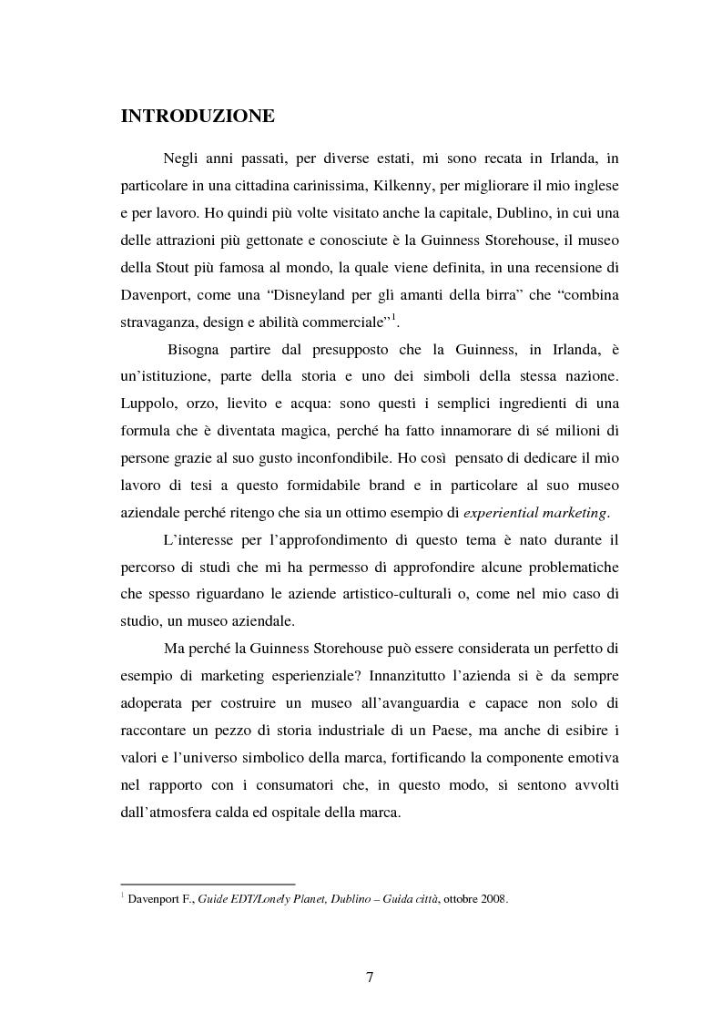 Anteprima della tesi: Experiential Marketing: il caso della Guinness Storehouse, Pagina 1