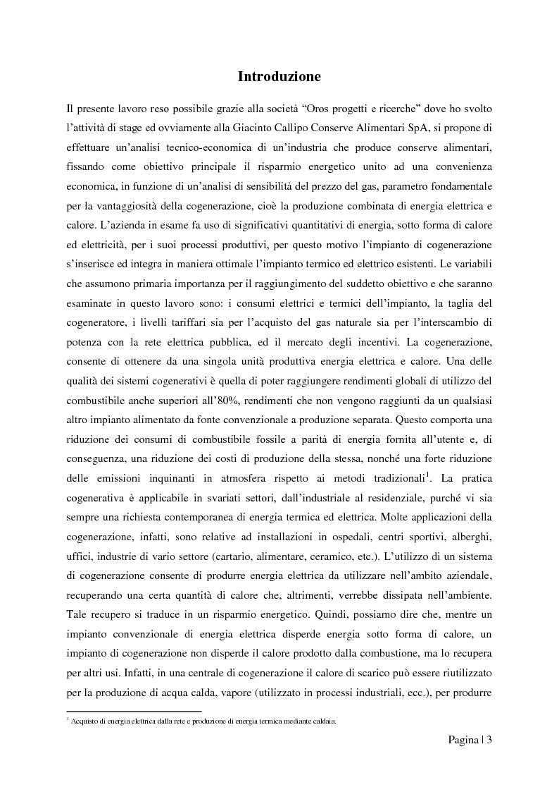 """Anteprima della tesi: Analisi tecnico-economica di impianti di cogenerazione ad alto rendimento ed integrazione con un modello """"Gas Price Sensitivity'', Pagina 1"""