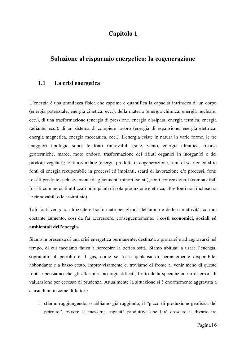 """Anteprima della tesi: Analisi tecnico-economica di impianti di cogenerazione ad alto rendimento ed integrazione con un modello """"Gas Price Sensitivity'', Pagina 4"""