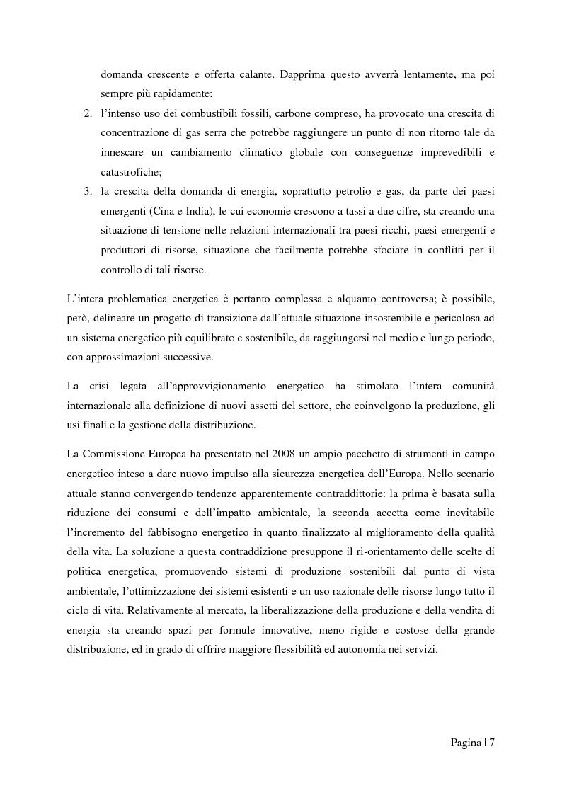 """Anteprima della tesi: Analisi tecnico-economica di impianti di cogenerazione ad alto rendimento ed integrazione con un modello """"Gas Price Sensitivity'', Pagina 5"""