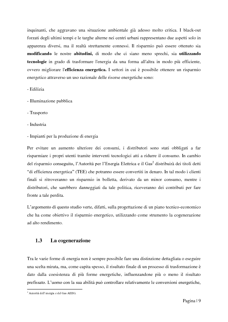 """Anteprima della tesi: Analisi tecnico-economica di impianti di cogenerazione ad alto rendimento ed integrazione con un modello """"Gas Price Sensitivity'', Pagina 7"""