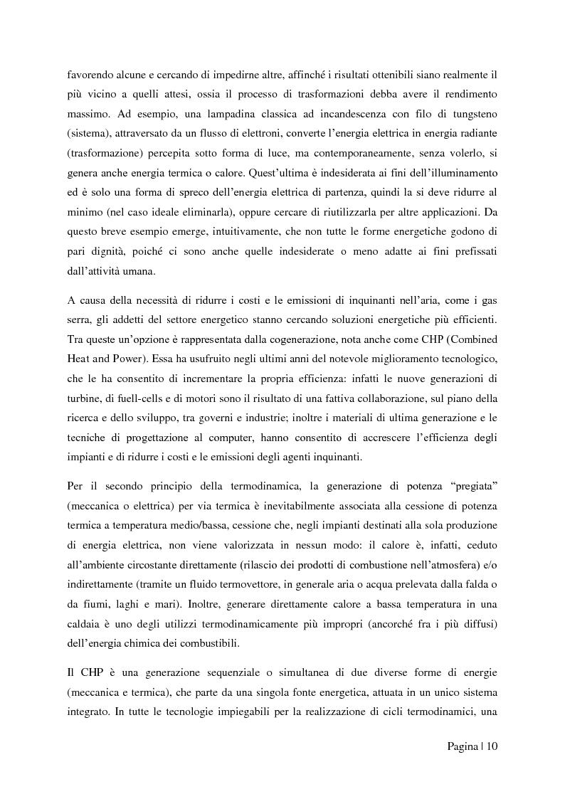 """Anteprima della tesi: Analisi tecnico-economica di impianti di cogenerazione ad alto rendimento ed integrazione con un modello """"Gas Price Sensitivity'', Pagina 8"""
