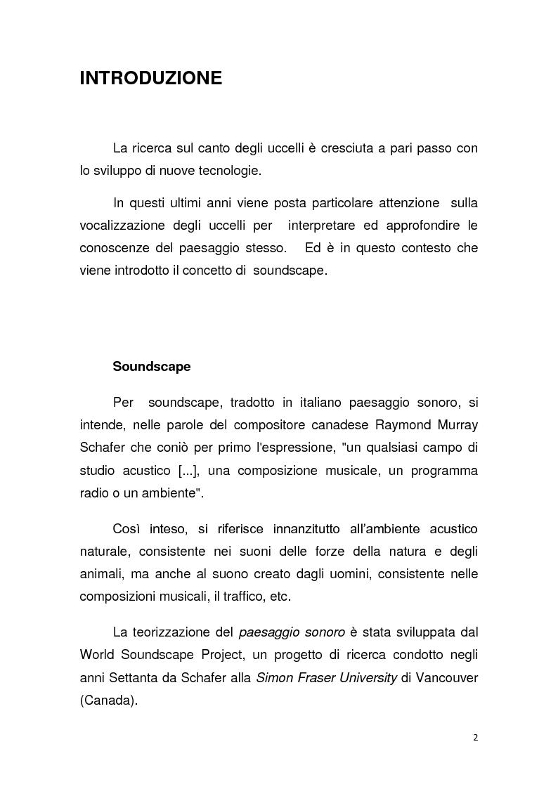 Anteprima della tesi: Contributo allo studio del soundscape: la nicchia acustica di Sylvia atricapilla, Pagina 1