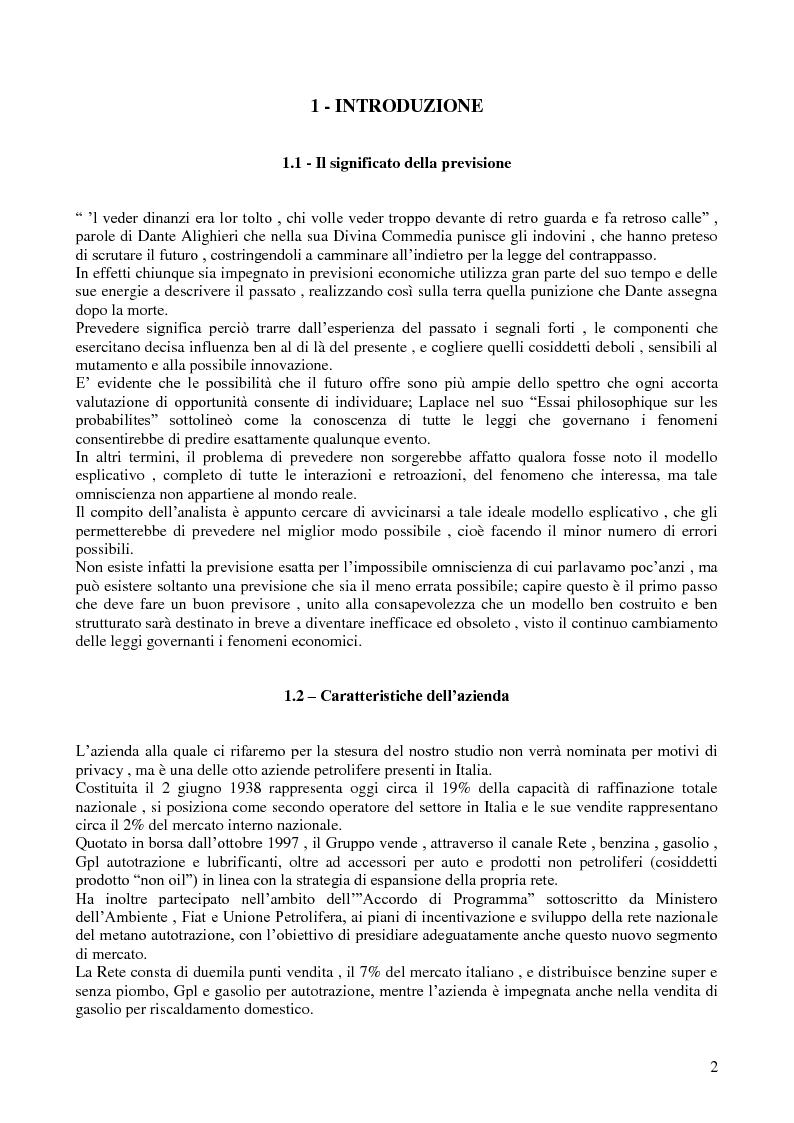 Anteprima della tesi: Modello di previsione della vendita di benzina e gasolio in Italia, Pagina 1