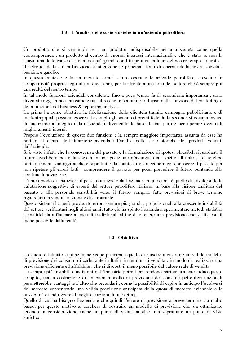 Anteprima della tesi: Modello di previsione della vendita di benzina e gasolio in Italia, Pagina 2