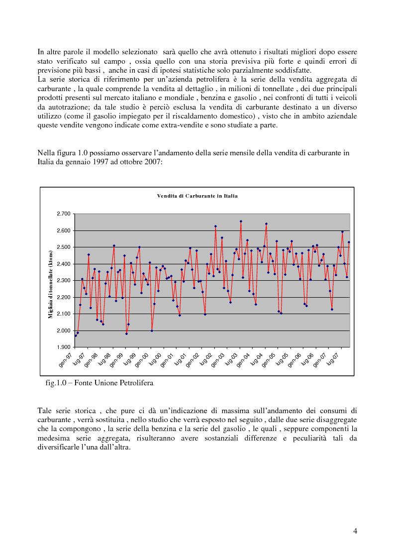 Anteprima della tesi: Modello di previsione della vendita di benzina e gasolio in Italia, Pagina 3