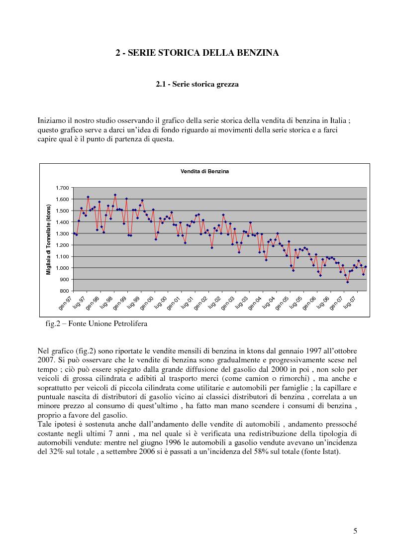 Anteprima della tesi: Modello di previsione della vendita di benzina e gasolio in Italia, Pagina 4