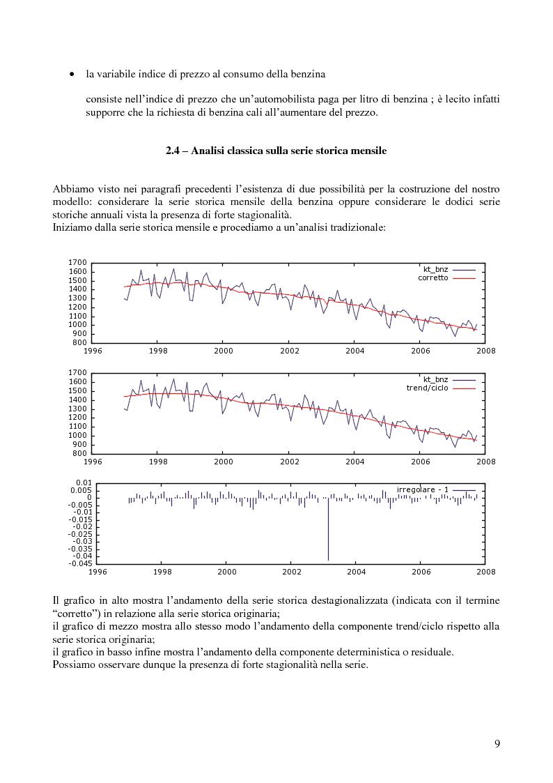 Anteprima della tesi: Modello di previsione della vendita di benzina e gasolio in Italia, Pagina 8