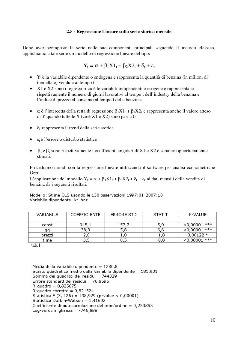 Anteprima della tesi: Modello di previsione della vendita di benzina e gasolio in Italia, Pagina 9