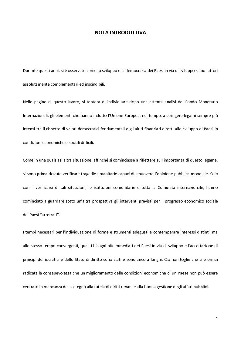 Anteprima della tesi: Il Fondo Monetario Internazionale e i principi di condizionalità, Pagina 1