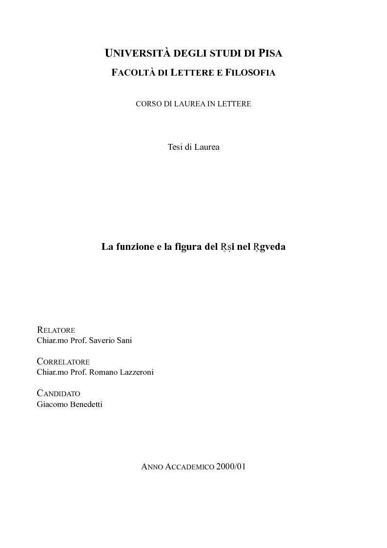 Anteprima della tesi: La funzione e la figura del Ṛṣi nel Ṛgveda, Pagina 1