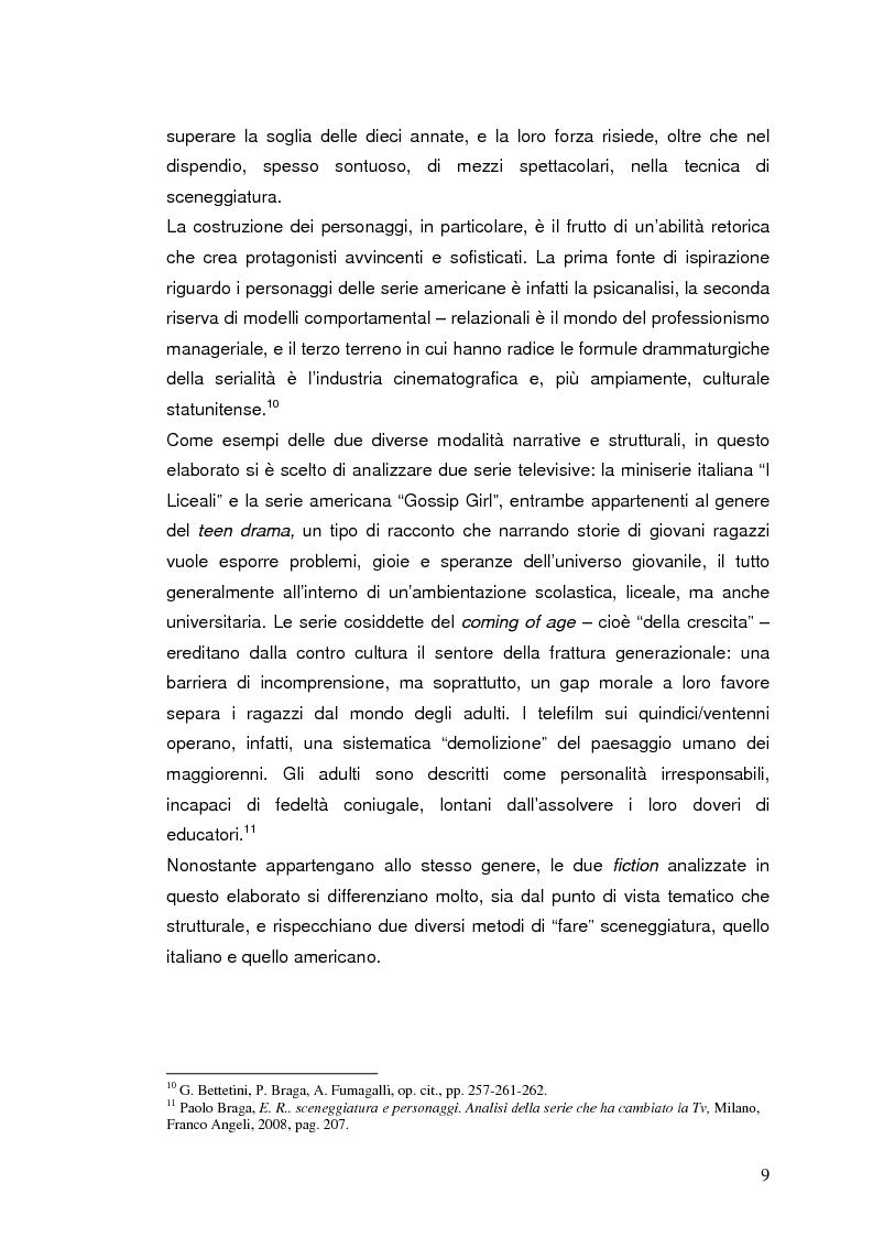 """Anteprima della tesi: """"I liceali"""" e """"Gossip Girl"""": il teen drama e le sue caratteristiche drammaturgiche ed etiche, Pagina 5"""