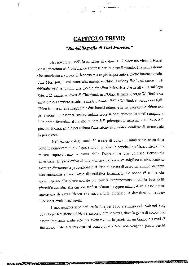 Anteprima della tesi: La musica nelle parole: il Jazz di Toni Morrison, Pagina 1