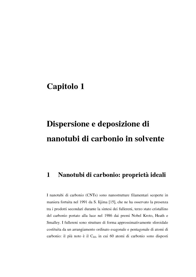 Anteprima della tesi: Film trasparenti nanostrutturati di nanotubi di carbonio su vetro come substrati per la crescita neuronale, Pagina 1
