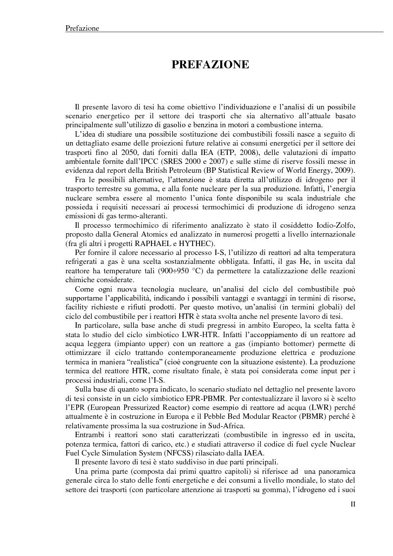 Anteprima della tesi: La produzione di idrogeno per via nucleare: proposta di un possibile scenario energetico per il settore dei trasporti, Pagina 1