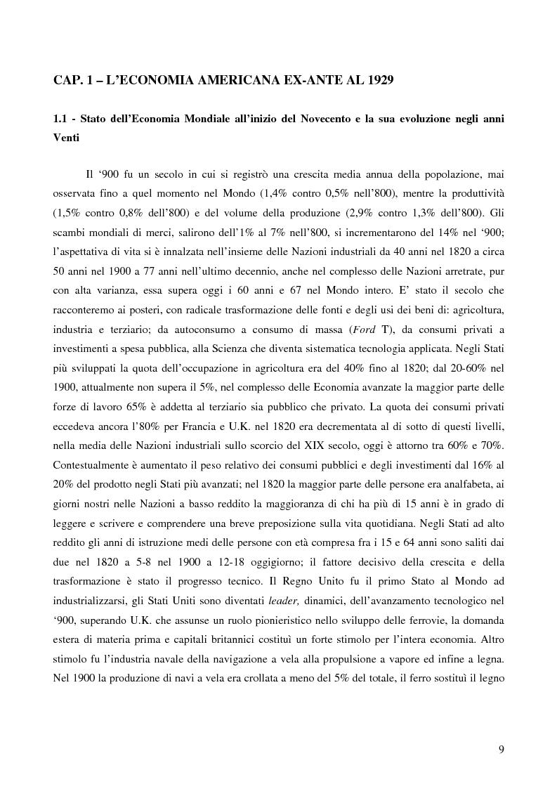 Anteprima della tesi: L'attualità del Grande Crollo degli anni Trenta, Pagina 1