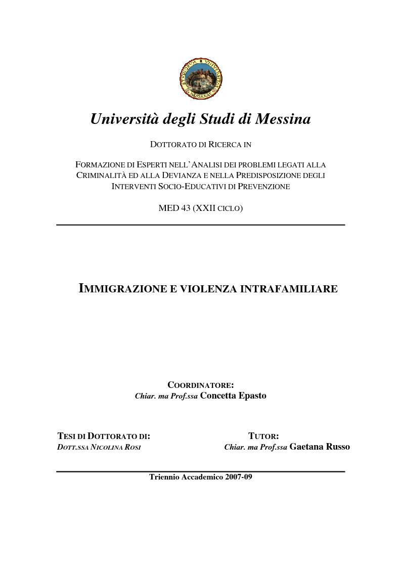 Anteprima della tesi: Immigrazione e violenza intrafamiliare: gli omicidi familiari tra migranti (1996-2009) , Pagina 1