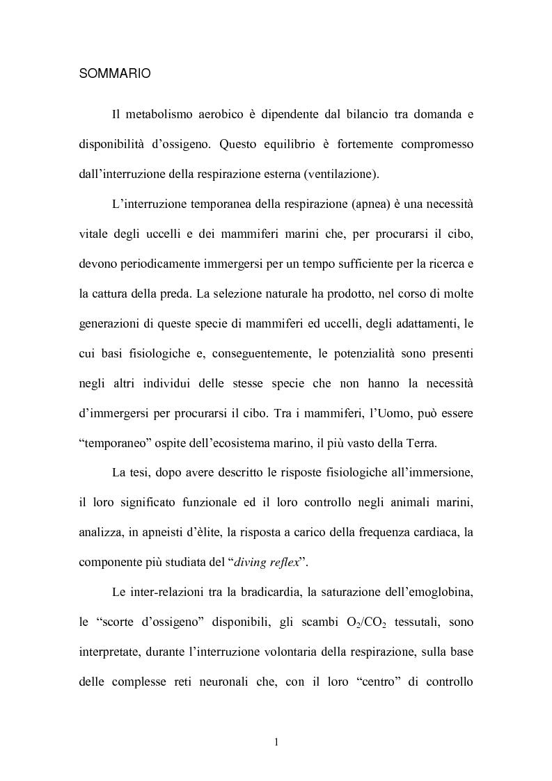 Anteprima della tesi: Le risposte adattative all'ipossia: dagli animali marini all'uomo, Pagina 1