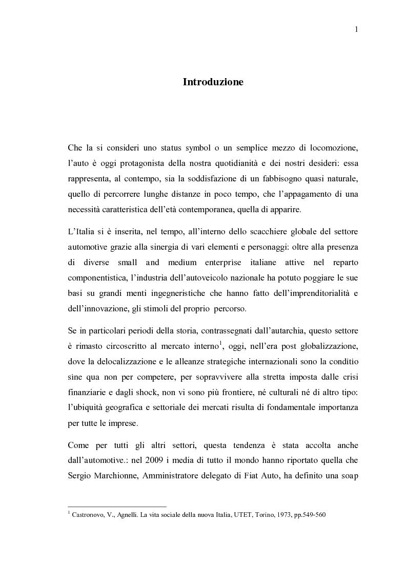 Anteprima della tesi: Ricerche e studi sull'evoluzione generale del settore automobilistico in un insieme globale, Pagina 1